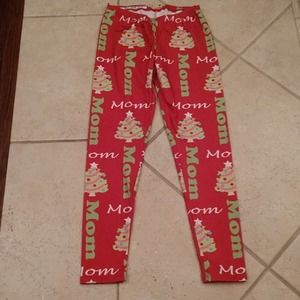 Lolly Wolly Doodle Red Mom Christmas Leggings